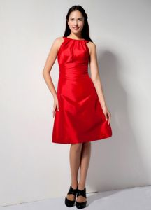 Bateau Taffeta A-line Knee-length Dresses for Damas in Red