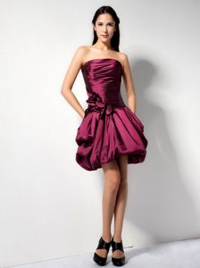 A-line Burgundy Hand Made Flowers Dama Quinceanera Dresses