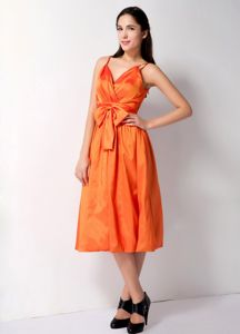 Spaghetti Straps Bow Tea-length Orange Damas Dresses 2014