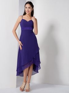High-low Purple Quinces Dama Dresses with Spaghetti Straps