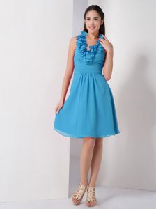Halter Baby Blue Chiffon A-line Ruched Prom Dress for Dama