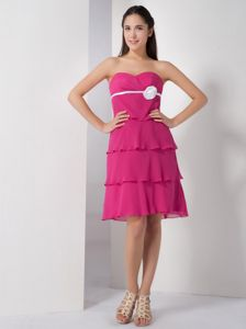 Sweetheart Hot Pink Empire Dresses for Damas with Ruffles