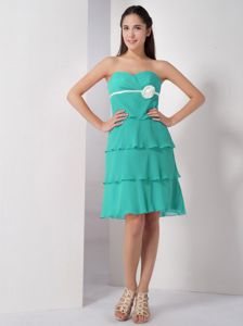 Turquoise Sweetheart Layered Chiffon Dama Dress for Quince
