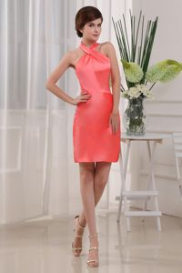 Halter Mini-length Column Taffeta Damas Dress in Coral Red