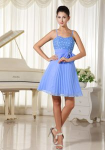Beaded Bow Blue Damas Dresses A-line with Spaghetti Straps