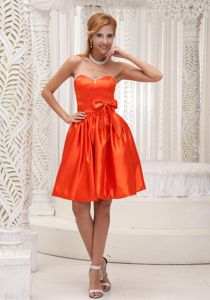 Taffeta Orange Red Bowknot Quinceanera Dama Dresses Beaded