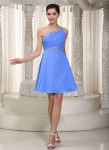 One Shoulder Blue Mini-length Empire Beaded Damas Dresses
