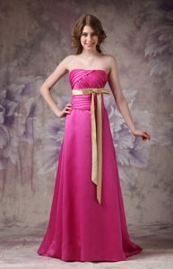 Brush Train Hot Pink Satin Column Ruched Bows Dama Dresses