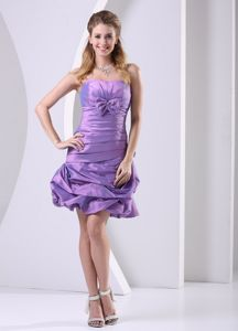 Lavender Ruched Short Bowknot Damas Dresses with Pick-ups
