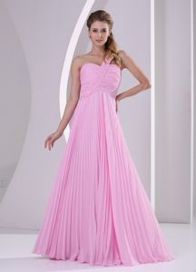 Pleated Pink One Shoulder Prom Dama Dress with Brush Train