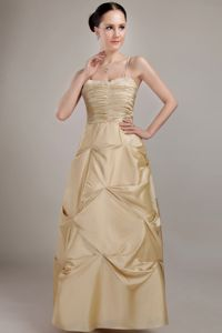 Beaded Champagne Ruched Dama Dresses with Spaghetti Straps