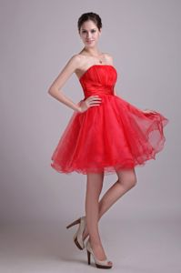Organza A-line Red Short 2013 Prom Dama Dress with Beading