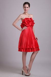 Knee-length Red Hand Made Flower Pleats 15 Dress for Damas