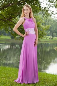 Bateau Lavender Chiffon Brush Train Dress for Damas Ruched