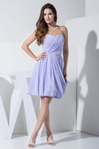 Chiffon Ruched Lilac Sweetheart Dama Dresses with Pick-ups