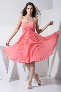 Sweetheart Pleating Watermelon Dresses for Quinces Beaded