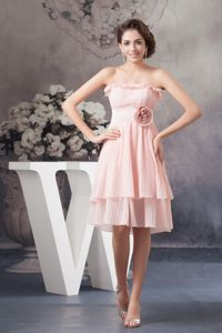 Chiffon Flouncing Pleated Dama Dress with Hand Made Flower