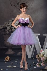 Organza Lavender Sashes Mini-length Dama Quinceanera Dress