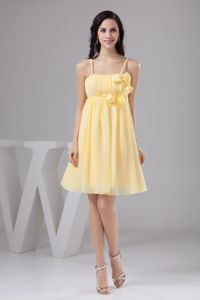 Mini-length Light Yellow Flowers Prom Dama Dresses Ruched