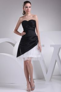 Sweetheart Ruche Organza Black and White Dresses for Damas