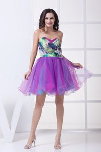 Colorful Organza Ruched Flowers Printed Party Dama Dresses