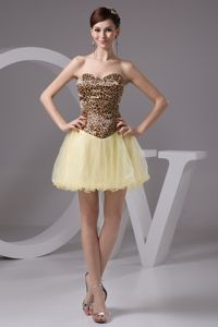 Leopard Mini-length Beaded Dama Dresses in Light Yellow