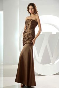 Mermaid Strapless Brown Ruched Ankle-length Party Dama Dresses