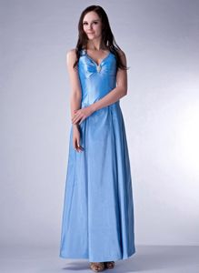 Column V-neck Blue Bridesmaid Dama Dresses for Ankle-length