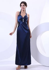 Halter Top Navy Blue Ankle-length Beading Dresses For Damas