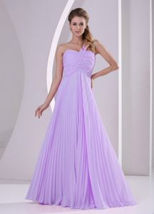 Lavender One Shoulder Pleated Empire Brush Train Party Dama Dresses