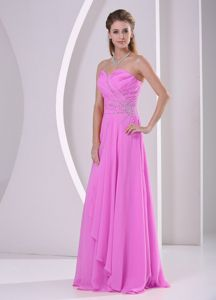 Sweetheart Beaded Ruching Formal Dresses For Dama in Fuchsia