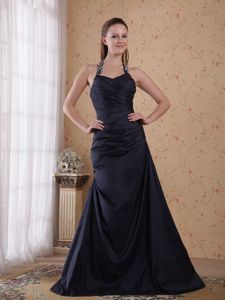 A-Line Halter Floor-length Beading Dresses For Damas in Black