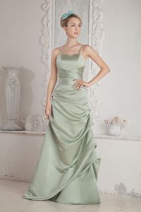 Column Ruching Straps Brush Train Bridesmaid Dama Dresses