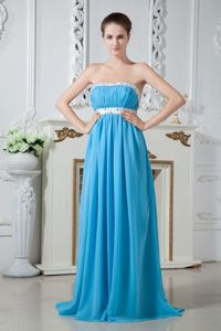 Beading Strapless Aqua Blue Party Dama Dresses with Brush Train