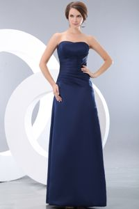 Strapless Ruched Dama Dress Column Floor-length in Navy Blue