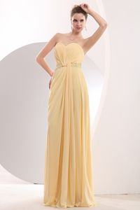 Light Yellow Dama Dress Empire Beading Sweetheart Brush Train