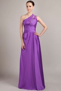 Pleated Empire One Shoulder Bridesmaid Dama Dresses in Purple