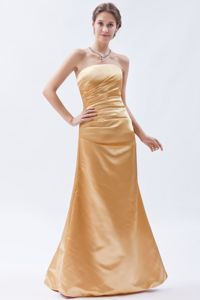 Column Strapless Floor-length Gold Damas Dresses For Quince