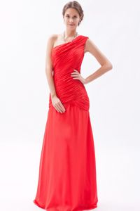 Sheath One Shoulder Red Ruched 15 Dresses For Damas Floor-length