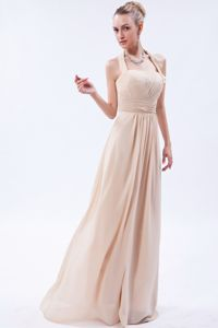 Champagne Empire Halter Ruched Dama Quinceanera Dresses