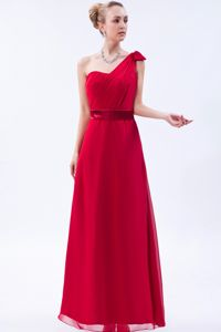 Red Column One Shoulder Floor-length Party Dama Dresses