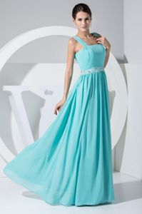 Mint Color Quince Dama Dresses with Beaded Belt Floor-length
