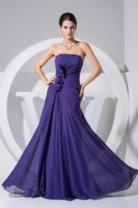 Sheath Strapless Dark Purple Ruched Prom Dresses For Dama