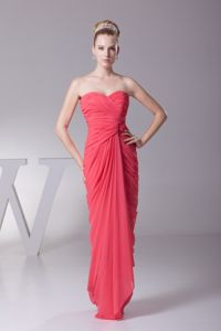 Ruched Sweetheart Column Watermelon Bridesmaid Dama Dresses