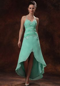 High-low Spaghetti Straps Appliques and Ruching Dama Dress in Apple Green