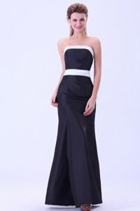 Black Strapless Ankle-length Dama Dress For Quinceaneras
