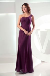 Ruched One Shoulder Floor-length Dark Purple Dama Dresses