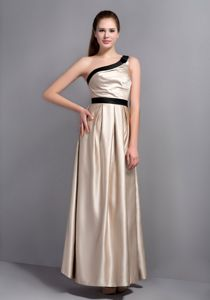 Champagne One Shoulder Prom Dresses For Dama with Black Belt