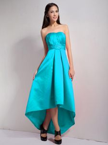 A-line Strapless Turquoise High-low Bridesmaid Dama Dresses