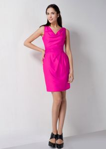 Fuchsia Column V-neck Cocktail Dresses For Dama Mini-length